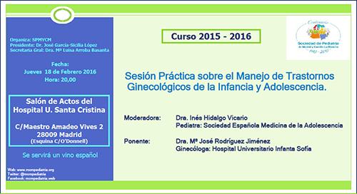 Sesión práctica sobre el Manejo de Trastornos Ginecológicos de la Infancia y Ado